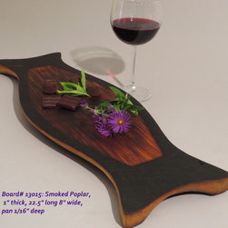 Hand-Carved Smoked Poplar Serving Board $65 SOLD - Functional & Beautiful. These pieces strike a balance between Beauty & Utility, Old & New, Rustic & Refined. Food-bearing surface is smooth, solid & practical. Clean with warm soapy water. FREE 4oz container of 100% FoodSafe BeesWax & Mineral Oil Conditioner with each purchase.