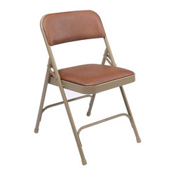 National Public Seating - Premium Durable Folding Chair - Set of 4 - Set of 4. V-shaped stability plugs. Two U-shaped double riveted cross braces. Double hinges for added stability and durability. 18-gauge steel tubing. Fully upholstered seat and back attached with 6 rivets. 0.80 mm vinyl over 1.25 in., 0.9 lbs. density foam seat and 1.2 lbs. density back. Cal 117 rated vinyl and foam. Steel contains 30-40% of post-consumer waste (recycled). Meets ANSI and BIFMA standards. Warranty: Five years for material. Weight capacity: 480 lbs.. 18.75 in. W x 20.25 in. D x 29.5 in. H