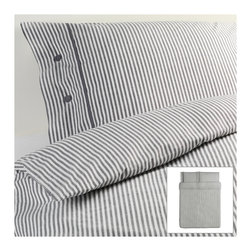 Nyponros Duvet Cover and Pillowcases - I adore the simplicity and versatility of this gray striped bedding. It is a nice neutral that can be paired with stronger colors to ground a space.
