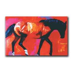 """One Horse 16x24 Print - """"One Horse"""" is a contemporary horse canvas giclee by Daryl Poulin.  This 16x24 canvas is gallery wrapped. We take the fine art canvas and stretch it over a wooden frame, adhering the canvas to the backside of the frame. The canvas actually wraps around the edges of the frame, giving your print the look of a fine piece of art, such as you might find in an art gallery. There is no need for a picture frame. Your piece of art is ready to hang or lean against a wall, or display on an easel."""