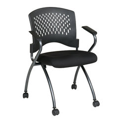 Office Star - Pro-Line II Folding Deluxe Folding Chair w/ Ventilated Plastic Wrap Around Back - Deluxe Folding Chair with Ventilated Plastic Wrap Around Back, Arms and Titanium Finish. 2-Pack. Breathable Plastic Back with Built-in Lumbar Support. Black Fabric Padded Seat. Sturdy Titanium Finish Arms and Frame with Dual Wheel Carpet Casters. Seat Folds for Horizontal Nesting.