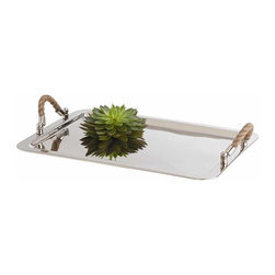 "Arteriors - Arteriors Home - Willow Nickel Tray - 6711 - Equally at home with the hostess or the interior designer, this polished nickel tray is offset by textured natural jute rope handle and polished nickel hardware. Matching tray also available. Features: Willow. Collection: Tray Polished nickel FinishJute Rope HandlesMatching tray also available Some Assembly Required. Dimensions: W 17 1/2"" x D 4 1/2"" x L 24"""
