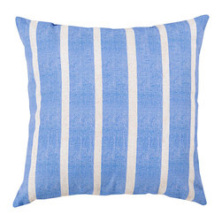"""Irish and Ash Grey Stripe Pillow - 20"""" x 20"""" - Lovely cool color and attractive country stripes make the Iris and Ash Gray Stripe Pillow suited for use in garden rooms and bedrooms alike. This square throw pillow makes an elegant accent cushion on benches and wing chairs, where its classic pattern offers a neat, traditional appeal. Enjoy the contrast of delicate color and graphic pattern with this decorative pillow."""