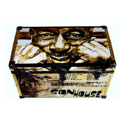 """Vintage Box Trunk """"Son House"""" Tribute - C 1920 standard vintage box trunk recovered with original water color paintings on canvas by acclaimed water color painter Richard Zone. Tribute to """"Father of the Delta Blues"""" legend -SON HOUSE - who has been credited as the influence for rock and blues superstars Jimmy Page of Led Zeppelin, Jack White, The Allman Brothers and more."""