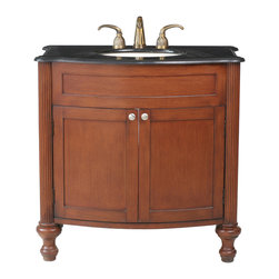 "Stufurhome - 36"" Georgiana Single Sink Vanity with Black Galaxy Granite Top - The 36"" Georgiana Single Sink Vanity is solid and stately, with its traditional carved columns and bun-style feet. A Black Galaxy Granite top is a lustrous contrast to the rich, cherry finish, which adds a cozy warmth to any bathroom space. Storage abounds in the space below, covered by two simple paneled doors, complete with uncomplicated silver knobs. Dimensions: 36 in. x 22 in."