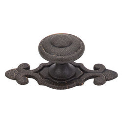 """Top Knobs - Canterbury Knob 1 1/4"""" w/Backplate - Rust - Length - 1 1/4"""", Width - 1 1/4"""", Projection - 1 1/4"""", Base Diameter - 3/4"""""""