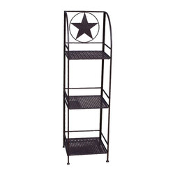 Zeckos - Brown Metal 3 Tier Western Star Linen Shelf - This wonderful wrought iron Western star 3 tier linen shelf is a perfect accessory to add to your bathroom or patio. The shelf measures 48 inches tall, 13 1/4 inches wide and 13 1/4 inches deep, and folds flat for storage when not in use. It has a brown enamel finish to match most color patterns. It's great for storing extra towels, hair dryers, bath supplies or even knickknacks. It makes a great gift.