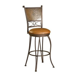 Powell Bronze with Muted Copper Stamped Back 30 in. Bar Stool - If heavy wood stools just don't appeal to you then let the Powell 30-in. Bronze with Muted Copper Stamped Back Swivel Bar Stool round out your bar area with its light airy elegance. Crafted from metal this armless bar stool has a solid back stamped with an elaborate floral design. Additional curls and curves create eye-catching lines from top to bottom while the padded brown faux leather (PVC) seat helps you relax in comfort. The slightly distressed bronze finish is accented with muted copper for a refined yet inviting style. Both durable and easy to clean the seat reaches a height of 30 inches which makes it ideal for any bar setting. Please note: This item is not intended for commercial use. Warranty applies to residential use only. More About Powell FurnitureBased in Culver City Calif. the Powell company designs imports and distributes occasional dining accent and youth furniture across all style categories. Since 1968 Powell has grown to become one of the most recognized names in the home furniture industry. From sturdy safe childrens furniture to elegant bedroom and other home collections Powell continues to develop new and exciting designs for homes around the globe.