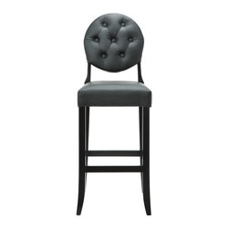 Modway Furniture - Modway Button Barstool in Black - Barstool in Black belongs to Button Collection by Modway Create your universe with an elevated opaque version of the popular Casper Chair. While transparency has its place, the opacity of the Buttoned Casper Bar Stool delivers spatial distinction. With its padded black vinyl seat and back, turn your bar or kitchen into an event horizon of outwardly emitted light and joy. Set Includes: One - Buttoned Casper Bar Stool  Barstool (1)
