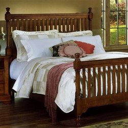 Vaughan Bassett - Slat Poster Bed w Nightstand in Cherry Finish - Choose Bed Size: Eastern KingIncludes slat poster bed and nightstand. Cherry finish. Assembly required. Nighstand:. 2 Drawers. 1 Open shelf. 28 in. W x 16 in. D x 29 in. H. Slat poster bed:. Full Size:. Includes slat poster headboard, slat poster footboard and wood rails with 3 1-inch slats. Slat poster headboard: 64 in. L x 3 in. W x 58 in. H. Slat poster footboard: 64 in. L x 3 in. W x 35 in. H. Wood rails: 76 in. L x 6 in. W x 1 in. H. Queen Size:. Includes slat poster headboard, slat poster footboard and wood rails with 3 1-inch slats. Slat poster headboard: 64 in. L x 3 in. W x 58 in. H. Slat poster footboard: 64 in. L x 3 in. W x 35 in. H. Wood rails: 82 in. L x 6 in. W x 1 in. H. Eastern King Size:. Includes slat poster headboard, slat poster footboard and wood rails with 6 1-inch slats. Slat poster headboard: 81 in. L x 3 in. W x 58 in. H. Slat poster footboard: 81 in. L x 3 in. W x 35 in. H. Wood rails: 82 in. L x 6 in. W x 1 in. H. California King Size:. Includes slat poster headboard, slat poster footboard and wood rails with 6 1-inch slats. Slat poster headboard: 81 in. L x 3 in. W x 58 in. H. Slat poster footboard: 81 in. L x 3 in. W x 35 in. H. Wood rails: 86 in. L x 6 in. W x 1 in. H