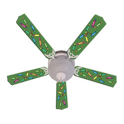 Ceiling Fan Designers - Ceiling Fan Designers Kids Colorful Crayons Indoor Ceiling Fan - 42FAN-IMA-KCC - Shop for Ceiling Fans and Components from Hayneedle.com! Colors colors everywhere -- the Ceiling Fan Designers Kids Colorful Crayons Indoor Ceiling Fan is perfect in the nursery pediatrician's office or day care center. This colorful ceiling fan has a crayon design kids love. It's a ceiling fan and light kit combo that comes in your choice of size: 42-inch with 4 blades or 52-inch with 5. The blades are reversible so you get the colorful design on one side and white on the other. It has a powerful yet quiet 120-volt 3-speed motor with easy switch for year-round comfort. The 42-inch fan includes a schoolhouse-style white glass shade and requires one 60-watt candelabra bulb (not included). The 52-inch fan has three alabaster glass shades and requires three 60-watt candelabra bulbs (included). Your ceiling fan includes a 15- to 30-year manufacturer's warranty (based on size). It is not an officially licensed product. Licensed products were used as decorations. So colorful and fun!
