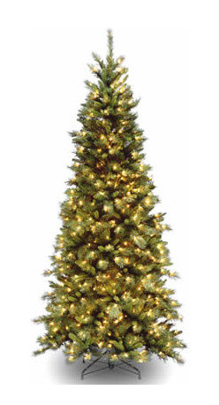 7 1/2 Ft. Tiffany Slim Fir Hinged Christmas Tree w/ 550 Clear Lights - Measures 7.5 feet tall with 42 inch diameter. Pre-lit with 550 UL listed, pre-strung Clear lights. Tip count: 1188. All metal hinged construction (branches are attached to center pole sections). Comes in three sections for quick and easy set-up. Includes sturdy folding metal tree stand. Light string features BULB-LOCK to keep bulbs from falling out. If one bulb burns out the others remain lit. Fire-resistant and non-allergenic. Includes spare bulbs and fuses. 5-year tree warranty / 2-year lights warranty. Packed in reusable storage carton. Assembly instructions included.