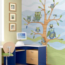 RR - Owl Wall Mural in Blue - Owl Wall Mural in Blue
