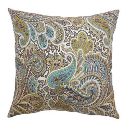 """The Pillow Collection - Dorcas Paisley Pillow Chocolate 18"""" x 18"""" - Cozy and vibrant, this throw pillow comes with a lovely paisley print pattern. Rich colors of chocolate brown, blue, white and green creates a beautiful detail. Welcome your guests with this plush accent pillow and place it on your sofa, sectionals, window seat and more. This square pillow is made from 100% soft cotton fabric. Hidden zipper closure for easy cover removal.  Knife edge finish on all four sides.  Reversible pillow with the same fabric on the back side.  Spot cleaning suggested."""