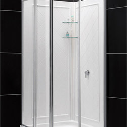 BathAuthority LLC dba Dreamline - Cornerview Framed Sliding Shower Enclosure, Double Threshold Shower Base & QWALL - This kit combines a CORNERVIEW ™ shower enclosure with a coordinating SlimLine™ shower base. The CORNERVIEW shower enclosure is a perfect combination of solid construction and timeless design. The corner installation provides an effective solution to maximize space. A SlimLine™ shower base completes the transformation with a modern low profile design. DreamLine™ shower kits provide a complete solution to makeover a shower space.