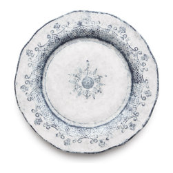 Arte Italica - Burano Dinner Plate - Named for Burano, an island off the coast of Venice that prides itself on its embroidered lace, you'll be thoroughly charmed by this blue and white, hand-painted dinner plate. Made in Italy, its uneven edges and design are reminiscent of hand-stitched lace. Select one plate or a set of four.