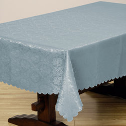 None - Two-tone French Blue Floral Damask 57x138-inch Rectangular Tablecloth - The two-tone French Blue Floral Damask Tablecloth offers beautiful formal styling,in a rich jacquard weave design that is sure to dress up any kitchen or dining room. This tablecloth features a polyester construction is completely machine-washable.