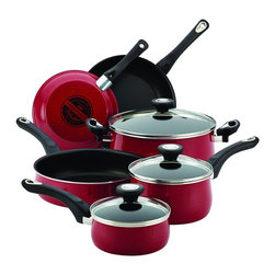 Farberware - Farberware New Traditions Red Speckled Aluminum Nonstick 12-piece Cookware Set w - Bring a stylish touch to your stovetop with this modern 12-piece Farberware nonstick cookware set. Crafted of aluminum for fast,even heating,each piece in this set features a red speckled enamel exterior for a smart addition to your kitchen.