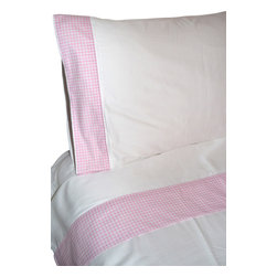 """100% Egyptian Cotton Sheet Set  - White w/ Pink Trim, King - 100% Egyptian Cotton 410 thread count customized sheet sets that coordinate with our Tuck Me In Good Night Bedding Retainment System. Our oversized flat sheets offer an additional 10"""" in length to provide for full coverage and comfort. They also include a special sewn sleeve/slot to receive the Tuck Me In bedding retainment rod (sold separately). With the Tuck Me In Good Night bedding retainment system your sheets will never get untucked again  - we guarantee it or your money back!"""