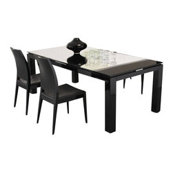Rossetto - Rossetto Diamond 5 Piece Rectangular Dining Table Set in Black - Rossetto - Dining Sets - R700AD20000285PcDiningSetPKG