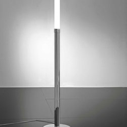 AI Lati Lights - Stick 65 Floor Lamp - Stick 65 floor lamp features an opal glass and a chrome finish. Available in a 61.3 or 67.2 inch high option. Fixture available with incandescent or compact fluorescent lamping option. Smaller version requires (1) 24 watt, 120 volt, T5 2G11 base compact fluorescent lamp not included. Larger versions requires (1) 36 or 80 watt, 120 volt, T5 2G11 base compact fluorescent lamp not included. General light distribution. CE listed. IP40 listed. Small: 11.9 inch diameter x 61.3 inch height. Large: 11.9 inch diameter x 67.2 inch height.