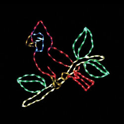 Brite Ideas Decorating - 31 in. LED Small Cardinal on Branch Lighted Display - 144 Bulbs Multicolor - LED - Shop for Holiday Ornaments and Decor from Hayneedle.com! Bid a warm welcome to winter by displaying this 31 in. LED Small Cardinal on Branch Lighted Display - 144 Bulbs in your yard. This lighted display features a delightful red cardinal on a branch. It stands 31 inches tall and is shaped by a durable powder-coated steel frame. Your cardinal comes pre-lit with 144 commercial-quality multi-colored LED bulbs. This lighted cardinal yard display is easy to install and includes replacement bulbs and clips for your convenience. About Brite IdeasEstablished in Omaha Neb. in 1990 Brite Ideas Decorating Inc. has become a holiday lighting industry leader providing customers across the United States with durable cutting edge lighting displays for both residential and commercial applications.Featuring a full line of innovative LED products and uniquely designed displays Brite Ideas appeals to tradition modern simple and even ornate tastes. It is their mission to promote excellence in the holiday lighting industry. With that in mind Brite Ideas products go above and beyond the standard to create the best holiday atmosphere for you.