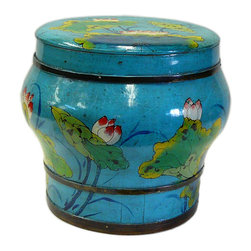 Golden Lotus - Chinese Blue Color Floral Round Wood Bucket - This is an old round wood bucket with new paint. It is a charm oriental decorative piece for home. ( hand-painted item, there is variation in graphic )