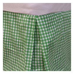 Dan River - Bright Green Plaid Twin Bedskirt Geometric Bedding Accessory - FEATURES: