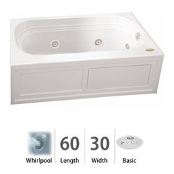 """Jacuzzi - Jacuzzi LXS6030 WLR 2XX W White Luxura 60"""" x 30"""" Luxura  Three Wall - Luxura  Collection:When you see a Jacuzzi  tub with the name Luxura , you know this is going to be one you just HAVE to try. With jets along both sides and at one end for that soothing foot or shoulder massage, this is a welcome addition to a contemporary décor or a more traditional setting. The Jacuzzi  Luxura  tub comes in a variety of sizes, each with tile-in options. Choose from four different colors (white, black, almond, and oyster) and three hydrotherapy experiences (Whirlpool, Pure Air , and Soaking Bath), depending on the measurements. This is an ideal fixture for remodels and replacements of older tubs measuring 5 to 5 1/2 feet in length. Should your job require tub skirting, Luxura  model tubs have this available.Tile Flange - Some Luxura  Models may come with a tile flange for 3-wall alcove installations, please check tub specifications prior to orderTubs that have an optional skirt do not include a tile flangeSkirting Available - Available with a skirt (aka """"apron""""). Use product codes beginning with """"LXS.""""Measurements:60""""L x 30""""W x 20.25""""H + Skirt and Tile FlangeComfort Whirlpool:At its most basic form, the three things needed to create a whirlpool experience are water (moved through a pump), air (mixed with the water), and jets (Therapro and AccuPro). Jacuzzi s  Comfort Whirlpool models do just this. A single speed motor and patented fixed airflow system push mixed water through 5-8 jets. Luxury models take things even further by swapping out the single-speed motor for a multi-speed motor and upgrading the airflow systems to electronically operated and patented Silent Air  Induction technologies. Luxury Models tend to have double (in some cases, triple) the jets of Comfort models, enhanced user controls, and a number of optional high-tech upgrades includi"""