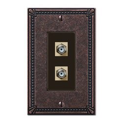 Jackson Deerfield Manufacturing - Imperial Bead Tumbled Double Video Connector Switchplate (JDM3017TAZDVC) - Imperial Bead Tumbled Ant. Bronze Double Video Connector Switchplate