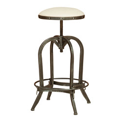 Great Deal Furniture - Dempsey Swivel Adjustable Bar Stool, Off-White Fabric - The Dempsey Bar Stool is a perfect combination of refinement and edge. The smooth and sophisticated upholstery on the seat is juxtaposed with a raw, natural antiqued iron frame, creating a unique overall industrial look for any room in your home.