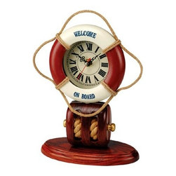 """Life Ring Clock w/ Pulley Base - The life ring clock w/ pulley base measures 9.5""""H. This red  white life ring clock is mounted to a solid hardwood pulley base. It will add a definite nautical touch to whatever room it is placed in and is a must have for those who appreciate high quality nautical decor. It makes a great gift, impressive decoration  will be admired by all those who love the sea."""