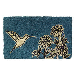 Entryways - Flower and Hummingbird Handwoven Coconut Fiber Doormat - Designed by an artist, this distinctive mat is a work of art that will add a welcoming touch to any home. It is from Entryways' handmade collection and meets the industry's highest standards. This decorative mat is handsomely hand woven and hand stenciled.