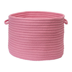 """Colonial Mills - Stripe It Storage Basket - Bold Pink, 14"""" x 10"""" - Simple and stylish storage. Use this pink braided storage basket in the nursery for diapers, kids room for toys or outdoors to store extra towels or lotions by the pool."""