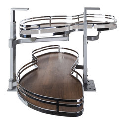 Hardware Resources - Blind Corner Swing Out  Left Handed Unit.  21 Opening - Blind Corner Swing Out  Left Handed Unit. Minimum 21 opening for Frameless or Face Frame Cabinets. Walnut textured solid non slip bottom shelves with Chrome edging  ships complete with installation instructions.