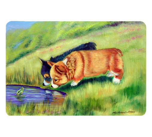 Caroline's Treasures - Corgi Kitchen Or Bath Mat 24X36 - Kitchen or Bath COMFORT FLOOR MAT This mat is 24 inch by 36 inch.  Comfort Mat / Carpet / Rug that is Made and Printed in the USA. A foam cushion is attached to the bottom of the mat for comfort when standing. The mat has been permenantly dyed for moderate traffic. Durable and fade resistant. The back of the mat is rubber backed to keep the mat from slipping on a smooth floor. Use pressure and water from garden hose or power washer to clean the mat.  Vacuuming only with the hard wood floor setting, as to not pull up the knap of the felt.   Avoid soap or cleaner that produces suds when cleaning.  It will be difficult to get the suds out of the mat.