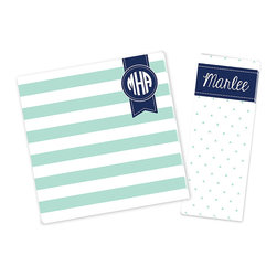 Ann Page - Mint & Navy Banner Personalized Notepad Set - Bring personalized charm to your desk or surprise a stationery-loving friend with this adorably coordinated set of notepads.   Includes two notepads Enter monogram as follows: first initial, last initial, middle initial. For example, Katie Beth Smith should be entered as ''KSB'' Square: 8'' W x 8'' H Rectangle: 3'' W x 8'' H Paper Made in the USA