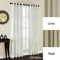 None - Sierra Geometric Pattern Grommet Curtain Panel - Freshen up your decor with a pair of these lovely grommet curtain panels featuring a diamond pin-tuck pattern for a richly textured finish. Hanging is simple with the brass-toned grommets,and the semitransparent fabric allows light to filter through.
