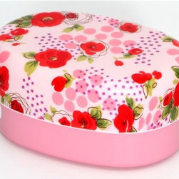 beautiful pink roses Bento Box lacquer lunch box - pink Roses Bento Box
