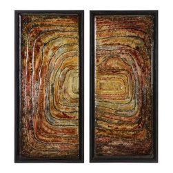 iMax - iMax Collage Glass Wall Decor - Set of 2 X-2-10421 - The Collage Glass Wall Decor features earthy tones of glass that are set in a primitive and unique pattern. Grouped together or separated, these eye-catching home accents are finely crafted and will add a stylish focal point to your space.