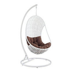 Bestow All-Weather Hanging Wicker Lounge Chair - From early spring to late fall (and maybe even past that), from patio parties to early-morning coffee, the Bestow All-Weather Wicker Lounge Chair is that perfect companion. It's oh so easy to curl up with this hanging lounge chair, which features a pod-shaped seat made of white synthetic woven rattan. Combine that with the brown fabric cushion, and you've got a hangout that's patio perfect in every way.Plus, this lounge chair is built to stand up to the elements. The wicker is designed to be all-weather, and the white-finished steel stand is outdoor grade with its protective powder coating.About ModwayModway designs and manufactures modern classic furniture pieces for the contemporary home. The quality pieces are fresh and elegant with a distinctively updated appeal. Simple, clean lines and a vibrant selection of colors and finishes make these pieces perfect for the home or office. A wide selection of products include pieces for the living room, dining room, bar, office, and outdoors. High-quality and innovative designs make Modway the premier company for luxurious modern style.