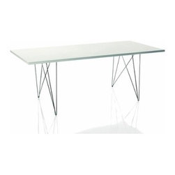 Magis - Magis | Tavolo XZ3 Rectangular Table - Made in Italy by Magis. The Tavolo XZ3 Rectangular Table is light in scale and appears to float above its intricate wire base. Italian manufacturer Magis is always on the lookout for new ideas, which come from studying the industry (and their own products) to see what might be needed. At the same time, they are inspired by the great Italian architectural and design heritage surrounding them. On one occasion, those surroundings inspired the Tavolo XZ3 Table — the only in-house design Magis has created to date. Product Features:  Sturdy construction Steel rod base offered in Chrome or painted epoxy resin Rectangular MDF table top with polymer cover offered in several finishes XZ3 Tables are designed for the environment, containing no PVC