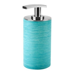 Gedy - Blue Finished Resin Soap Dispenser - Part of Gedy's Sole collection, this soap dispenser was made in Italy from thermoplastic resins. It comes in a blue finish and looks great in the contemporary bathroom setting. Round soap dispenser. Available in blue finish with chrome finished top. Made