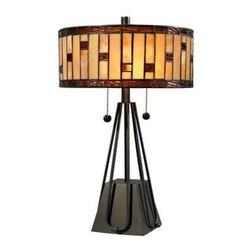 Dale Tiffany - Tiffany Lamps: Mojave 19 in. 2-Light Dark Bronze Table Lamp STT13011 - Shop for Lighting & Fans at The Home Depot. Crafted using the same high quality copper foil and leading techniques employed by Louis Comfort Tiffany, the Mojave table lamp features 172 pieces of hand cut art glass. The earthy tones of the glass are complimented with translucent glass accents throughout the shade and along the bottom rim of the shade. The contemporary metal base is finished in our dark bronze finish. Suitable for end tables, desks or night tables, this lamp will add warmth and personality to any room in which you choose to display it.