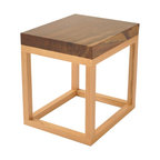 Rotsen Furniture - Reclaimed Wood Side Table - Walnut Top - Contemporary side table made of solid reclaimed walnut and base made of natural oak.