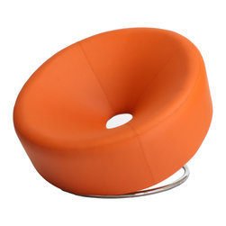 Great Deal Furniture - Nouvelle Design Leather Accent Chair, Orange - Add some pizzazz to your modern pied-a-terre. This vibrant orange leather chair may look unusual but it's actually quite comfy. Everyone who visits will want to test it out.