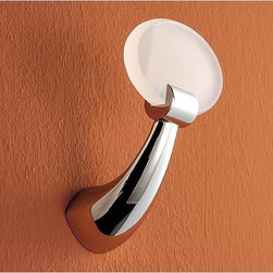 Toscanaluce - Round Brass and Plexiglass Robe Hook - Stylish, contemporary design plexiglass and chrome robe hook. Towel hook is made out of brass with a polished chrome finish and plexiglass with a blue, green, black, orange, light blue, white, or pink finish. Decorative clothes hook easily mounts to the bathroom wall with screws. Made in Italy by Toscanaluce. Stylish, contemporary style plexiglass and chrome robe hook. Bath hook made out of brass with a polished chrome finish and plexiglass with a blue, green, black, orange, light blue, white, or pink finish. Decorative shower hook easily mounts to the bathroom wall with screws. From the Toscanaluce Kor Collection.