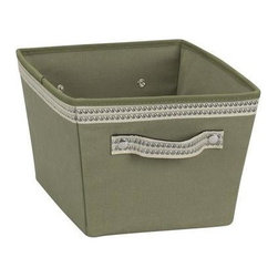 Household Essentials - Decorative Trim Storage Bin - Small, Olive - Our ivory decorative storage bins are sturdy with soft sides that live up any household or office. Their fashionable trim, and dual handles make these lightweight bins quick, easy, and fun to use. We strive to meet your laundry and storage needs with innovative, attractive solutions to make your life and home more beautiful and efficient.