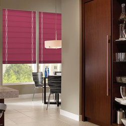 Waverly Roman Shades Strands Ribbons Jazzberry - Waverly Strands Ribbons Flat Fold Light Filtering Roman Shades allows natural light to filter while maintaining some privacy. The flat fold design provides a contemporary look. When the flat fold roman shades are raised the flat folds stack neatly. Waverly Strands Ribbons inspired by Waverly Strands design is perfect for any home and office decor, both designs coordinate to compliment other windows in your home.