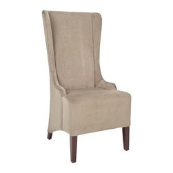 Safavieh - Safavieh Bacall Dining Occasional Chair X-B1054RCM - The Bacall high back chair, in mink cotton fabric and light cherry finished legs, absolutely commands attention. With a reaching, slightly tapered backrest and sloping arms, the dramatic Bacall is all about smart sophistication.
